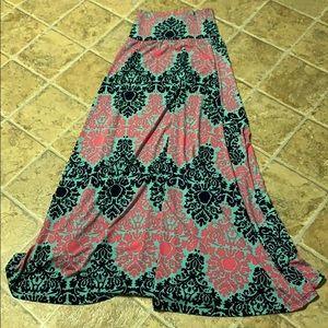 ❤️ Beautiful long boho skirt  Light blue and pink